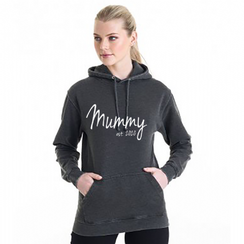 Personalised Mummy Est. Washed Hoodie